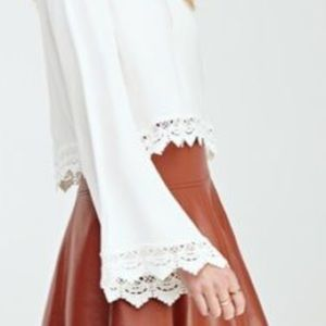 F21 Cropped Floral Crochet Lace Up Blouse